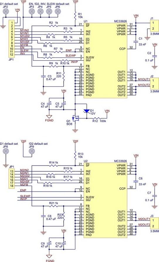 mc33926 çift motor sürücü kartı - pl-1213 devre şeması